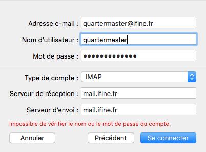 Configuration messagerie
